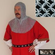 Coif - Zinc Plated Chainmail Head Piece, Butted Mild Steel CODE 10